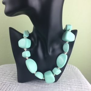 Charming Charlie Green Faux Stone Long Necklace